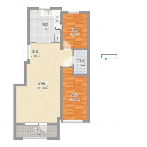 山河半岛2室2厅1卫1厨83.00㎡户型图
