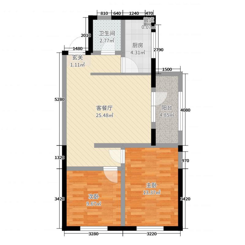 海唐罗马花园85.00㎡7#H户型2室2厅1卫1厨