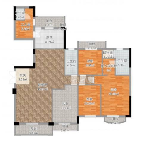 金凯花园4室2厅3卫1厨178.00㎡户型图