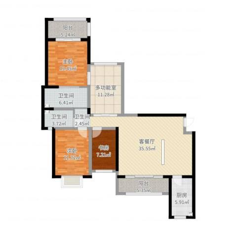 大唐世家3室2厅2卫1厨132.00㎡户型图