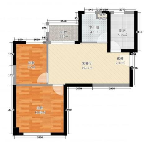 秦皇岛恒大城2室2厅1卫1厨67.00㎡户型图