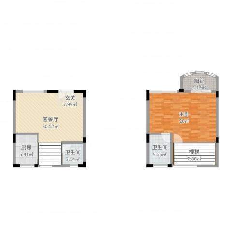顺德碧桂园蓝天花语1室2厅2卫1厨82.83㎡户型图