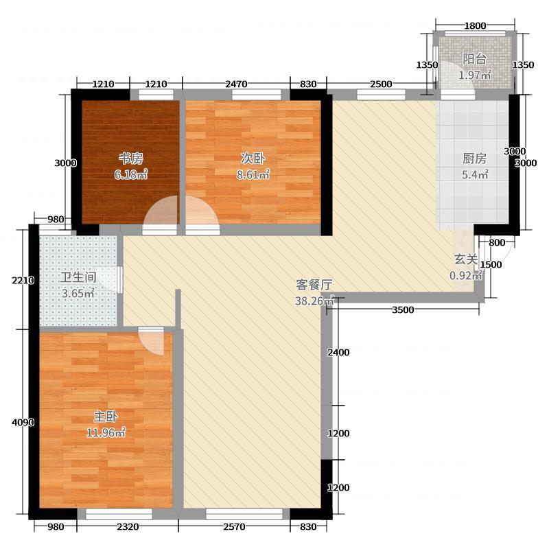 五洲梦幻岛109.47㎡通用E1户型3室3厅1卫1厨