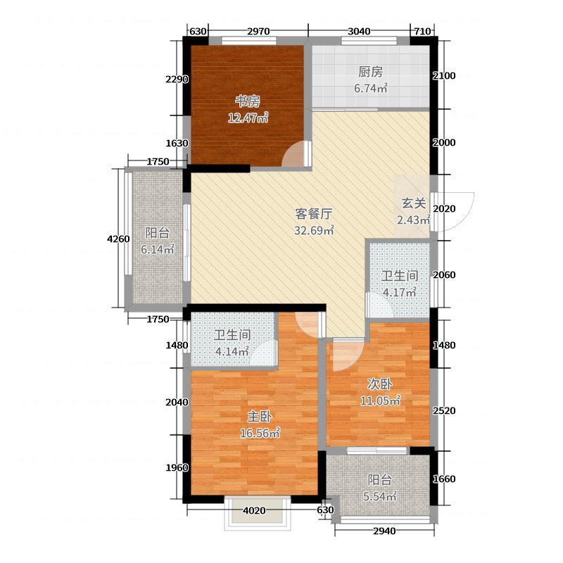 日月明园125.42㎡A-3a户型3室3厅2卫1厨