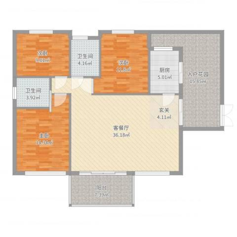 阳光田园国际3室2厅2卫1厨135.00㎡户型图
