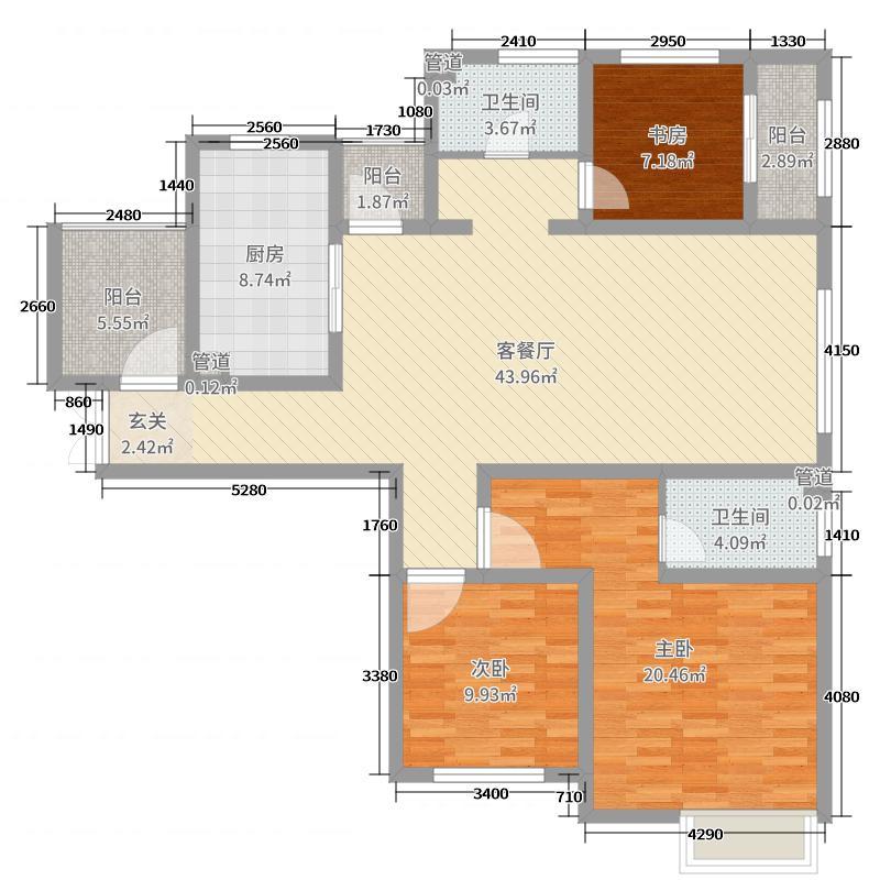 菩禧龙城135.89㎡花园洋房B户型3室3厅2卫1厨