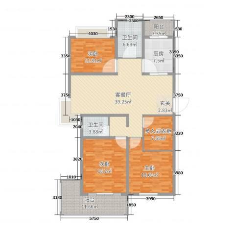 贵都之星3室2厅2卫1厨157.00㎡户型图