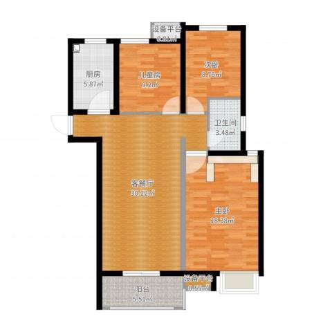 中海锦�湾3室2厅2卫1厨103.00㎡户型图