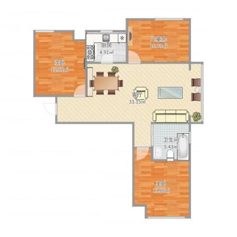 东方名城3室1厅1卫1厨100.00㎡户型图