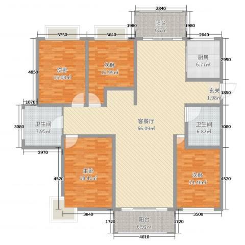 贵都之星4室2厅2卫1厨204.00㎡户型图