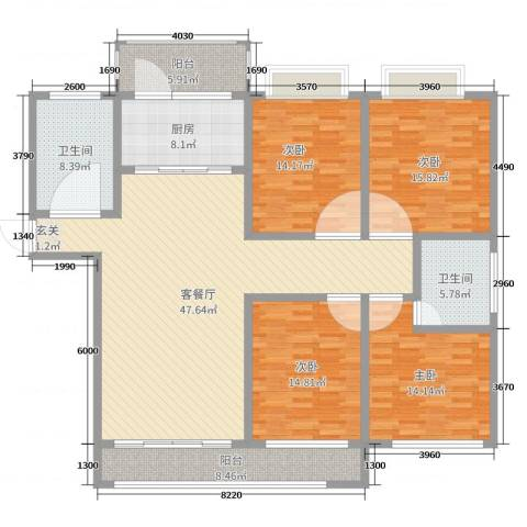 贵都之星4室2厅2卫1厨179.00㎡户型图