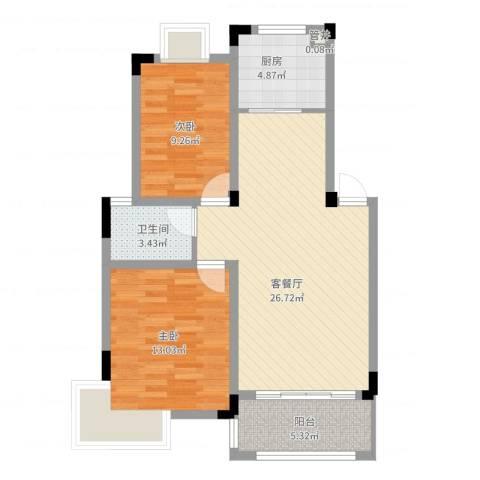 水榭山2室2厅1卫1厨90.00㎡户型图