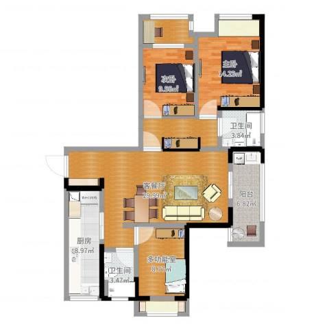 长河花园2室2厅2卫1厨120.00㎡户型图