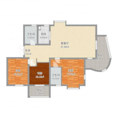 南溪花园3室2厅2卫1厨150.00㎡户型图