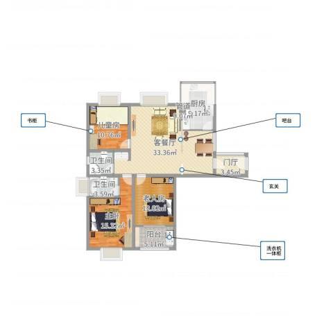 众兴・嘉城3室2厅2卫1厨120.00㎡户型图