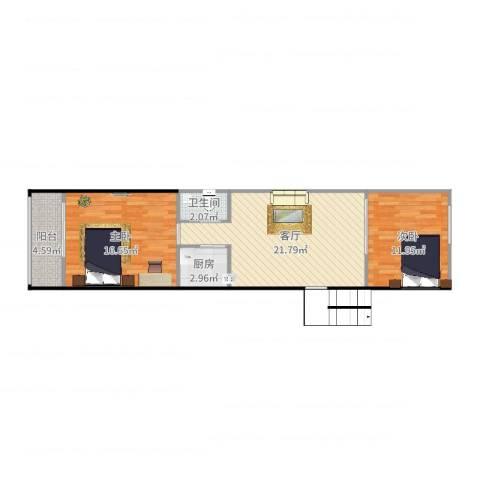 羊耳峪北里18号楼3单元201室2室1厅1卫1厨75.00㎡户型图