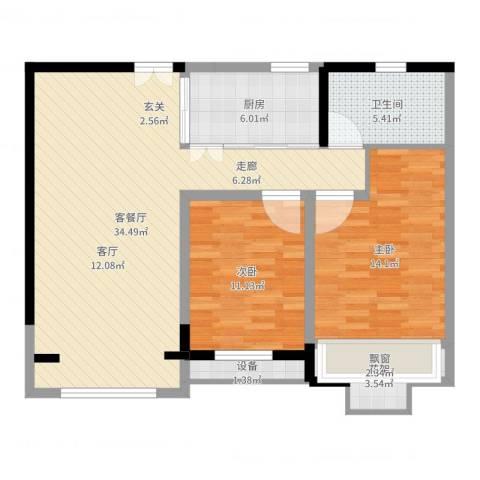 绿地波士顿公馆2室2厅1卫1厨95.00㎡户型图