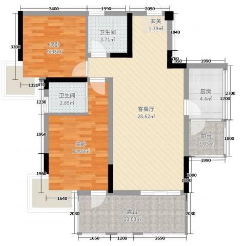 筑境100二期2室2厅2卫1厨95.00㎡户型图
