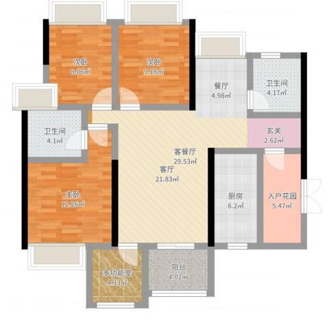 时代倾城3室2厅2卫1厨109.00㎡户型图