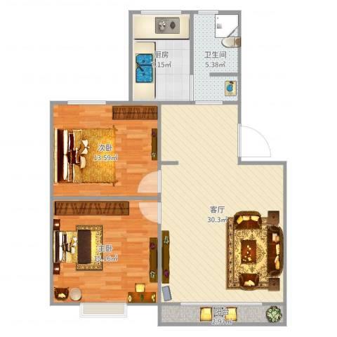 丽泽荷亭苑B1型80.01-80.6平方2室1厅1卫1厨93.00㎡户型图