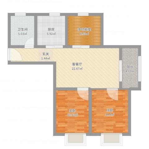 伊顿华府2室2厅1卫1厨83.00㎡户型图