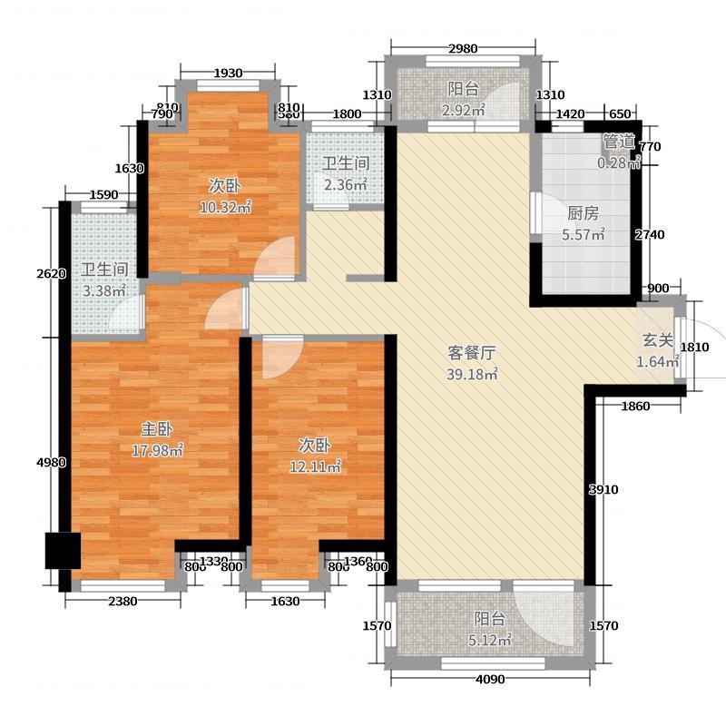 绿地悦澜湾124.00㎡2、3号楼A户型3室3厅2卫1厨