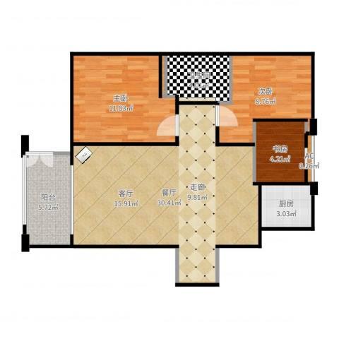 绿地香树花城3室1厅1卫1厨85.00㎡户型图