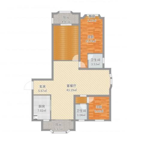 瑞景国际2室2厅2卫1厨134.00㎡户型图
