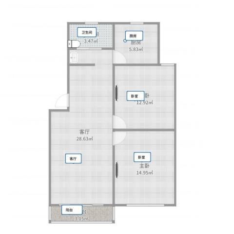梅福花苑2室1厅1卫1厨86.00㎡户型图