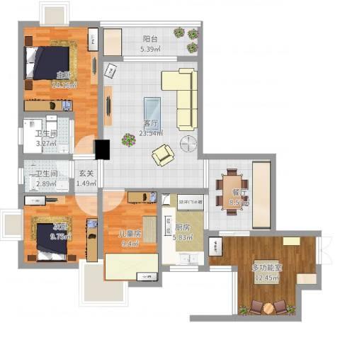 天府丽正3室2厅2卫1厨121.00㎡户型图