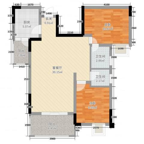 筑境100二期2室2厅2卫1厨82.00㎡户型图