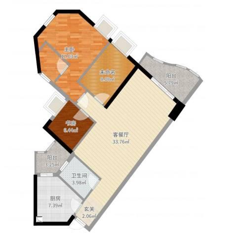 嘉仕花园尚海轩2室2厅1卫1厨120.00㎡户型图