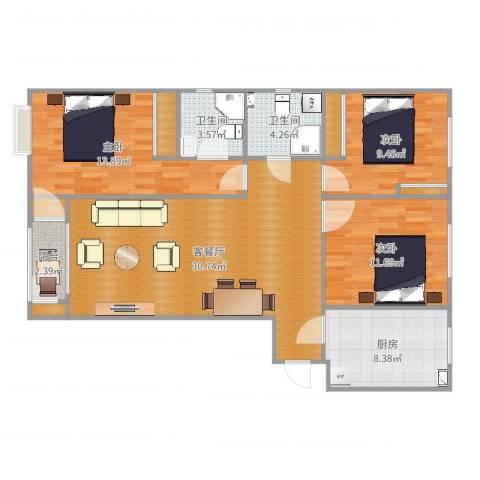 金泰丽湾三室两厅一厨一卫LR3室2厅2卫1厨110.00㎡户型图