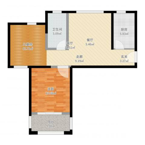 中冶祥腾宝月花园1室1厅1卫1厨80.00㎡户型图