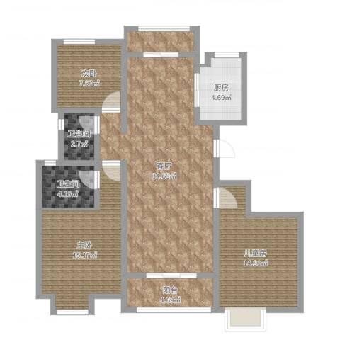 东方・亚特兰3室1厅2卫1厨114.00㎡户型图