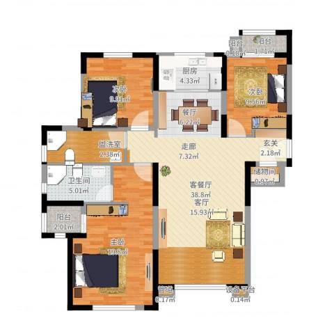 天朗大兴郡3室2厅1卫1厨122.00㎡户型图