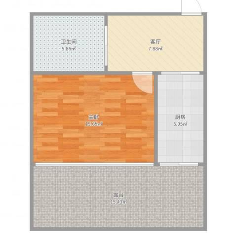 友好园1室1厅1卫1厨63.00㎡户型图