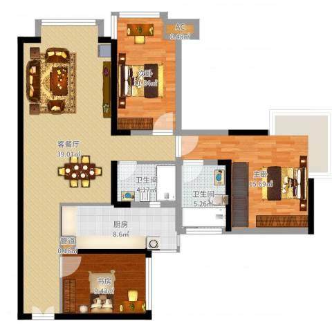 中海兰庭3室2厅2卫1厨118.00㎡户型图