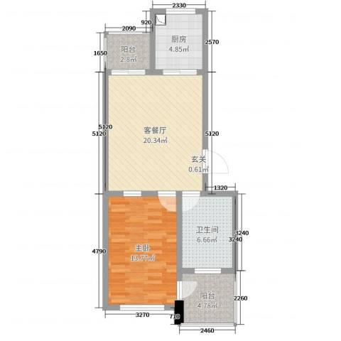 华威三十七英里1室2厅1卫1厨68.00㎡户型图