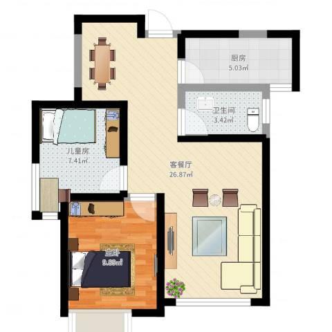 星雨华府2室2厅1卫1厨66.00㎡户型图