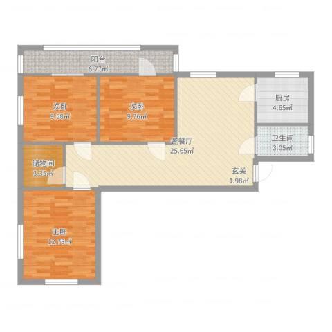 车道沟南里3室2厅1卫1厨94.00㎡户型图