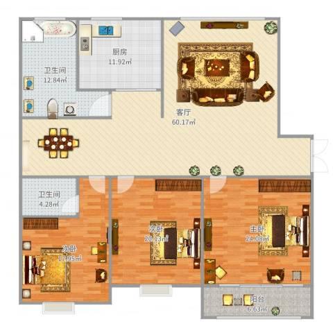 经典花园3室1厅2卫1厨197.00㎡户型图