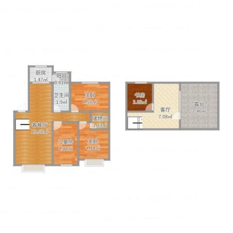中海水岸春城4室3厅1卫1厨61.00㎡户型图