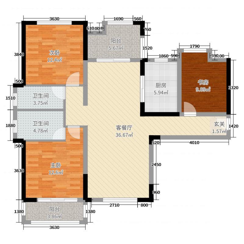 中信凯旋城124.00㎡15、16号栋户型3室3厅2卫1厨