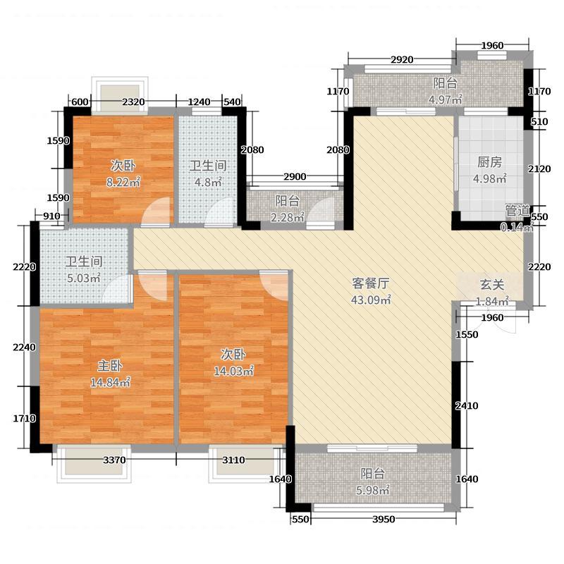 中信凯旋城140.84㎡8号栋11号栋B1-1户型3室3厅2卫1厨