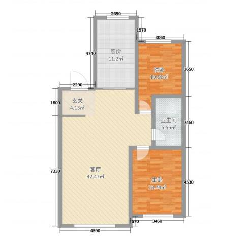 红日・城市假日花园2室1厅1卫1厨105.00㎡户型图