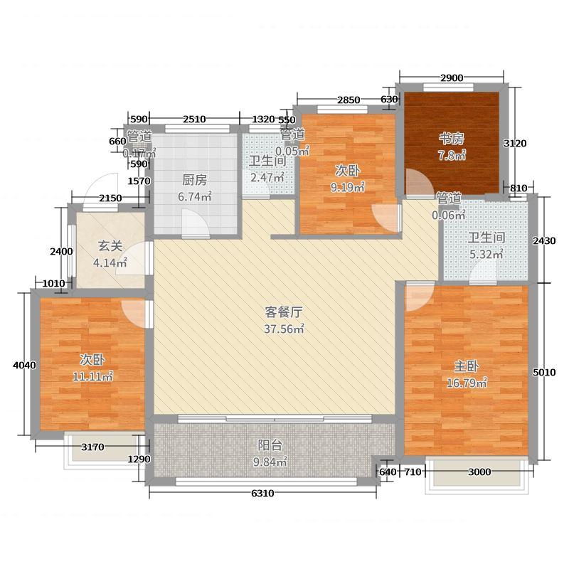 万科湖西玲珑140.00㎡1#2#高层标准层玲珑平墅户型4室4厅2卫1厨