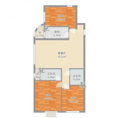 达润时代逸城五期3室2厅2卫1厨114.00㎡户型图