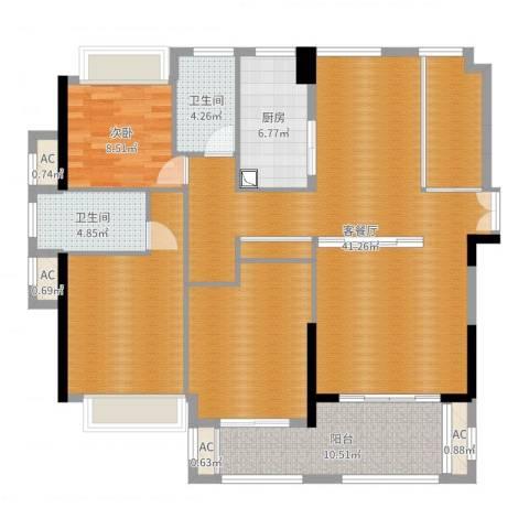 融耀江滨御景1室2厅2卫1厨141.00㎡户型图