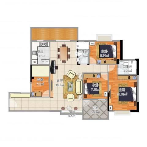 恒达花园4室1厅2卫1厨126.00㎡户型图